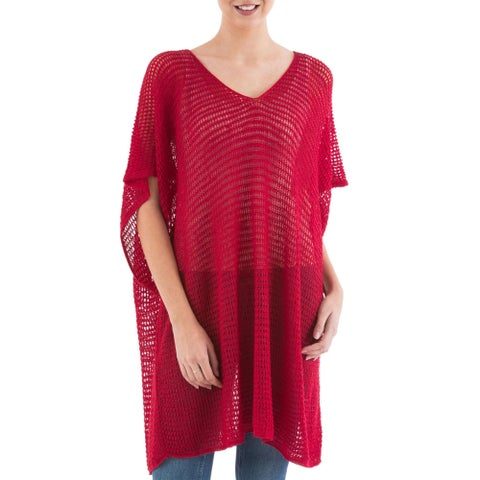 Handmade Acrylic Alpaca Blend 'Red Dreamcatcher' Tunic (Peru)