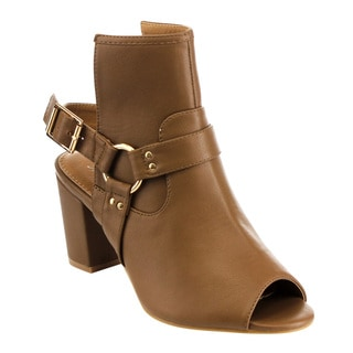 M&L EG42 Women's Slingback Buckle Strap Chunky Ankle Booties