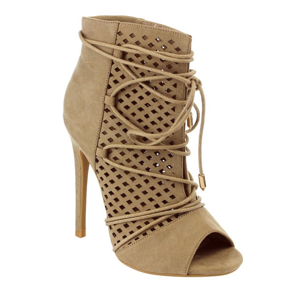 M&L EG35 Women's Laser Cut Out Lace Wrap Stiletto Heel Dress Ankle Booties