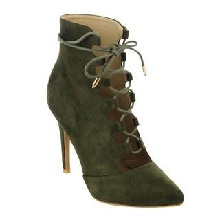 M&L Women's EG33 Lace Wrap Stiletto Heel Ankle Bootie