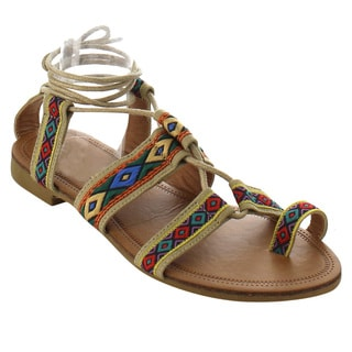 Beston ID34 Women's Bohemian Lace-up Strappy Flat Beach Sandal