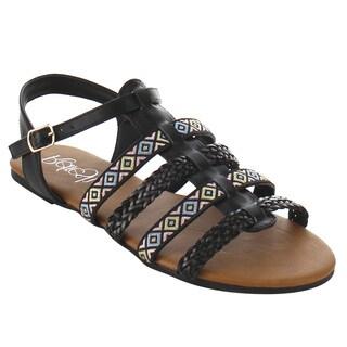 Refresh Women's ID49 Weaved T-strap Buckle Flat Beach Sandals