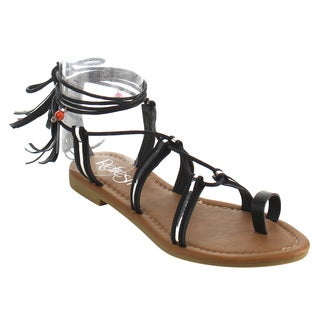 Refresh Women's Faux Leather Gladiator Strap Flat Beach Sandal