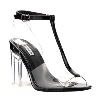 Cape Robbin FH48 Women's Lucite T-strap Peep Toe Block Heel Sandals