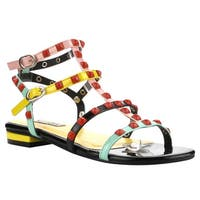 Cape Robbiin FH47 Women's Multicolored Faux-leather Flat Sandals with Strappy Studs and Double Buckles