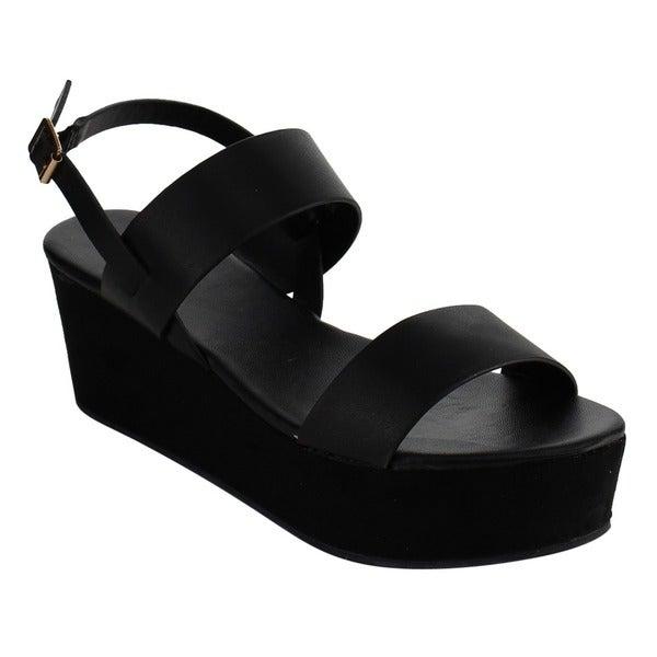 BAMBOO EF86 Women's Strappy Buckled Platform Wedge Dress Sandals