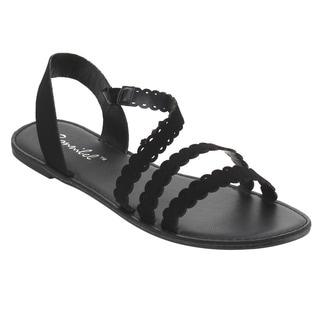 BONNIBEL Women's FG65 Scalloped Edge Strappy Slip-on Flat Sandals