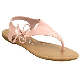 Bella Marie ID12 Women's Lace-up T-strap Thong Flat Beach Sandal