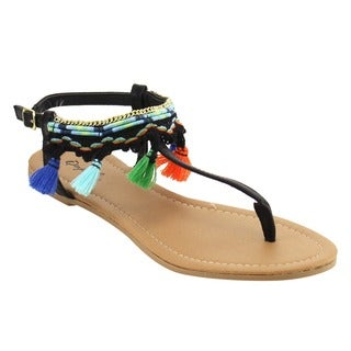 Qupid Women's FG80 Summer Tassels Boho T-strap Thong Flat Sandals
