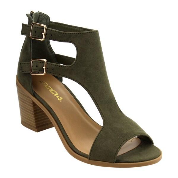 de1a111ac9802 Soda Women's IC90 Buckle Ankle Strap Stacked Block Heel Sandals