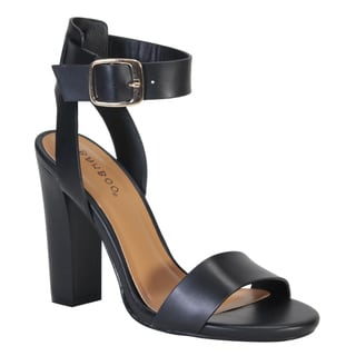 BAMBOO EF93 Women's Ankle Strap High Chunky Heel Sandals