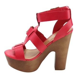 Breckelle's Women's EF80 Buckle Strap Platform Chunky Heel Sandals