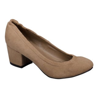 Breckelle's Women's EF77 Faux-suede Stitched Slip-on Chunky-heel Dress Pumps