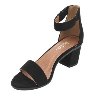 Bella Marie IC37 Women's Faux Suede Single Band Ankle Strap Wrapped Block Heel Sandals