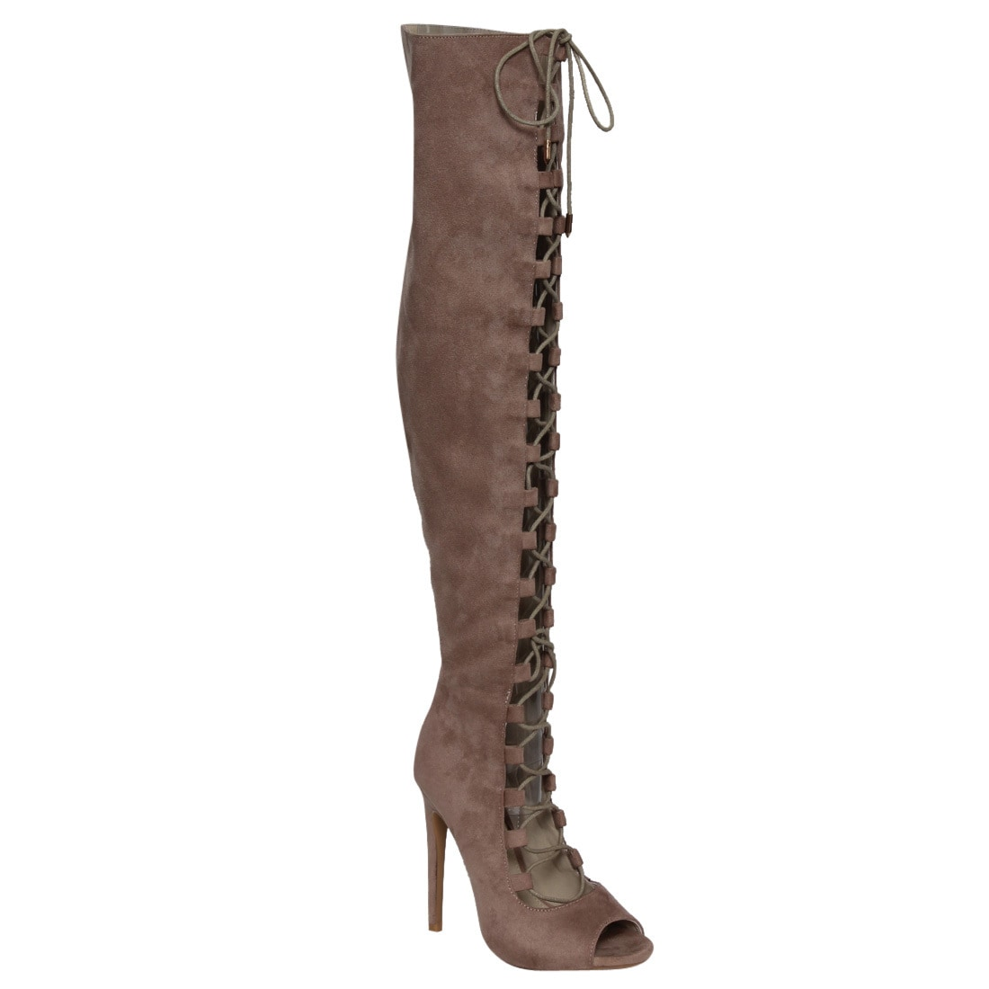 M&L EG28 Women's Over-the-knee-high Lace-up Inside-zipper...