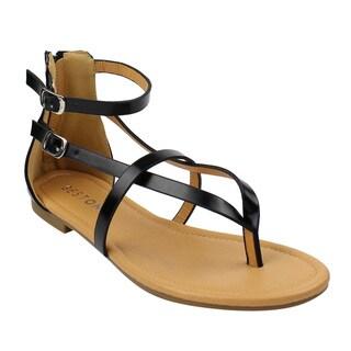 Beston DE16 Women's V-strap Thong Flat Gladiator Sandals Run One Size Small