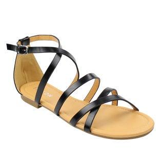 Beston DE15 Women's Gladiator Criss Cross Buckle Strap Flat Ankle Sandals Half Size Small
