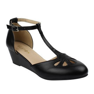 Beston DE17 Women's T-strap Ankle Buckle Mid-wedge Pumps Run One Size Small