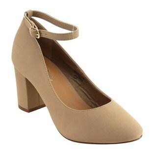 Bella Marie Women's IC39 Faux-suede Buckle Ankle Strap Wrapped Block Heel Pumps