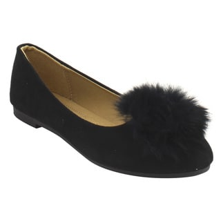 Forever IC85 Women's Faux Suede Pom-pom Slip-on Ballet Flats