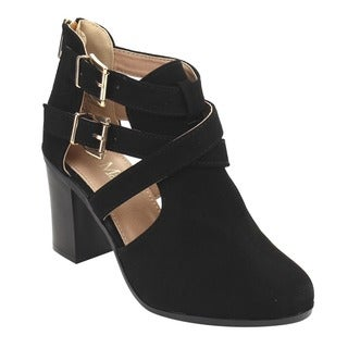 Bella Marie Women's IC69 Criss-cross Buckle Strap Chunk-block Heel Ankle Booties