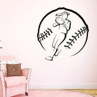 Girl Softball Player Decal Gym Wall Decor Sport Home Interior Art Mural Dorm Bedroom Decor Sticker D