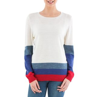 Handmade Acrylic 'Imagine in Ivory' Pullover Sweater (Peru) (4 options available)