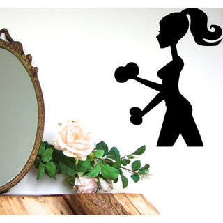 Girl With Dumbbell Gym Wall Decor Fitness Home Decor Vinyl Art Wall Decor Sticker Decal size 48x65 Color Black