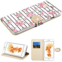 Insten Pink/ White Fresh Roses Leather Case Cover with Stand/ Wallet Flap Pouch/ Diamond For Apple iPhone 7 Plus