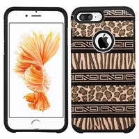 Insten Brown/ Black Zebra Hard PC/ Silicone Dual Layer Hybrid Rubberized Matte Case Cover For Apple iPhone 7 Plus