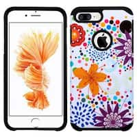 Insten Purple/ White Flower Buds Hard PC/ Silicone Dual Layer Hybrid Rubberized Matte Case Cover For Apple iPhone 7 Plus