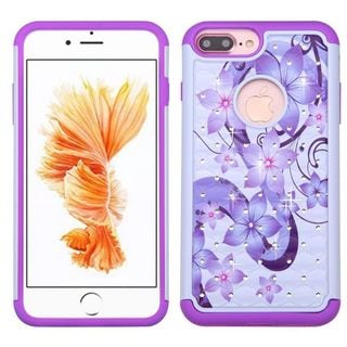 Insten Purple/ White Hibiscus Flower Romance Hard PC/ Silicone Dual Layer Hybrid Case Cover For Apple iPhone 7 Plus