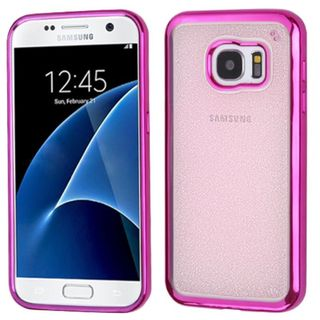 Insten Hot Pink/ Clear TPU Rubber Candy Skin Glitter Case Cover For Samsung Galaxy S7