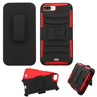 Insten Black/ Red Hard PC/ Silicone Dual Layer Hybrid Case Cover with Holster For Apple iPhone 7 Plus