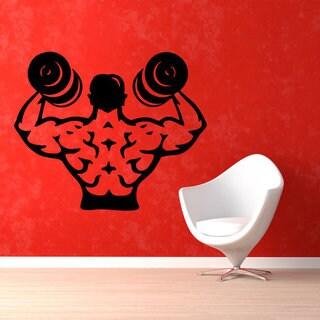 Fight Club Bodybuilder Decal Dumbbells Decals Gym Wall Decor Fitness Vinyl Art Wall Decor Sticker De