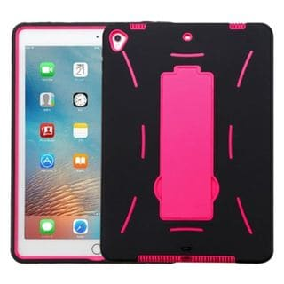 Insten Black/ Hot Pink Soft Silicone/ PC Dual Layer Hybrid Rubber Case Cover with Stand For Apple iPad Pro 9.7-inch