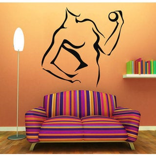 Girl With Dumbbell Gym Wall Decor Fitness Vinyl Sticker Home Interior Athlete Art Mural Sticker Decal size 22x22 Color Black