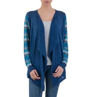 Handmade Cotton Blend 'Garden in Blue' Cardigan (Peru)