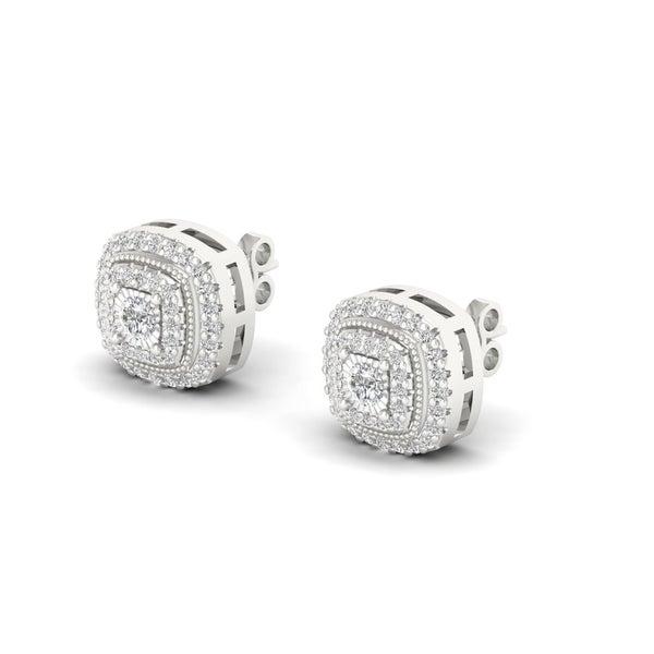 28bc76c6795 Shop De Couer Sterling Silver IGI Certified 1 4ct Diamond Halo Stud ...