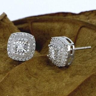 DeCouer 1/4ct Diamond Halo Stud Earrings Sterling Silver Certified