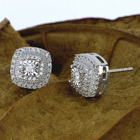 DeCouer 1/4ct Diamond Halo Stud Earrings Sterling Silver Certified