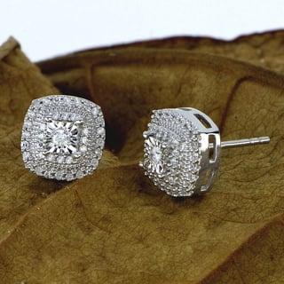 DeCouer 1/4ct Diamond Halo Stud Earrings Sterling Silver Certified - N/A