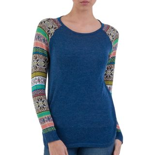 Handcrafted Acrylic Cotton Blend 'Andean Star in Blue' Sweater (Peru)