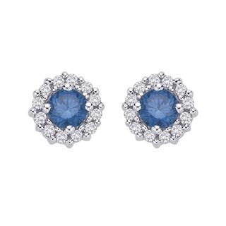 10K White Gold 1/2ct TDW Blue and White Diamond Stud Earrings (G-H, I2-I3)