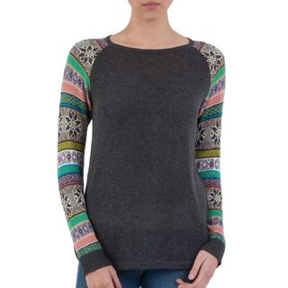 Handmade Acrylic Cotton Blend 'Andean Star in Charcoal' Sweater (Peru)