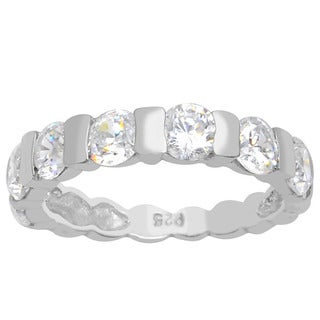 Orchid Jewelry 925 Sterling Silver 2 1/9 Carat White Topaz Promise Ring Band