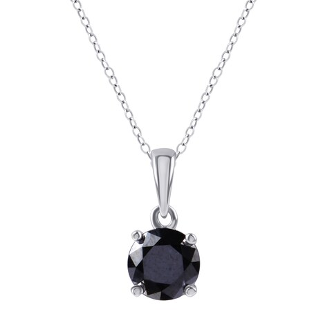 Divina Sterling Silver 1ct TDW Black Diamond Solitaire Pendant - n/a