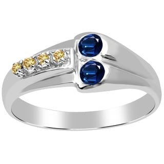 Orchid Jewelry 925 Sterling Silver 0.29 Carat Sapphire and Diamond Engagement Ring