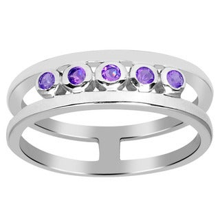 Orchid Jewelry Sterling Silver 0.50 Carat Amethyst Five Stone Band Ring