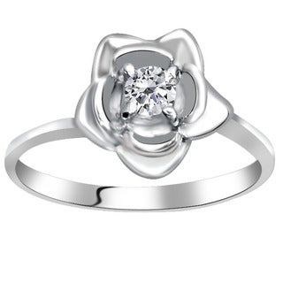 Orchid Jewelry 925 Sterling Silver 0.32 Carat White Topaz Solitaire Flower Ring